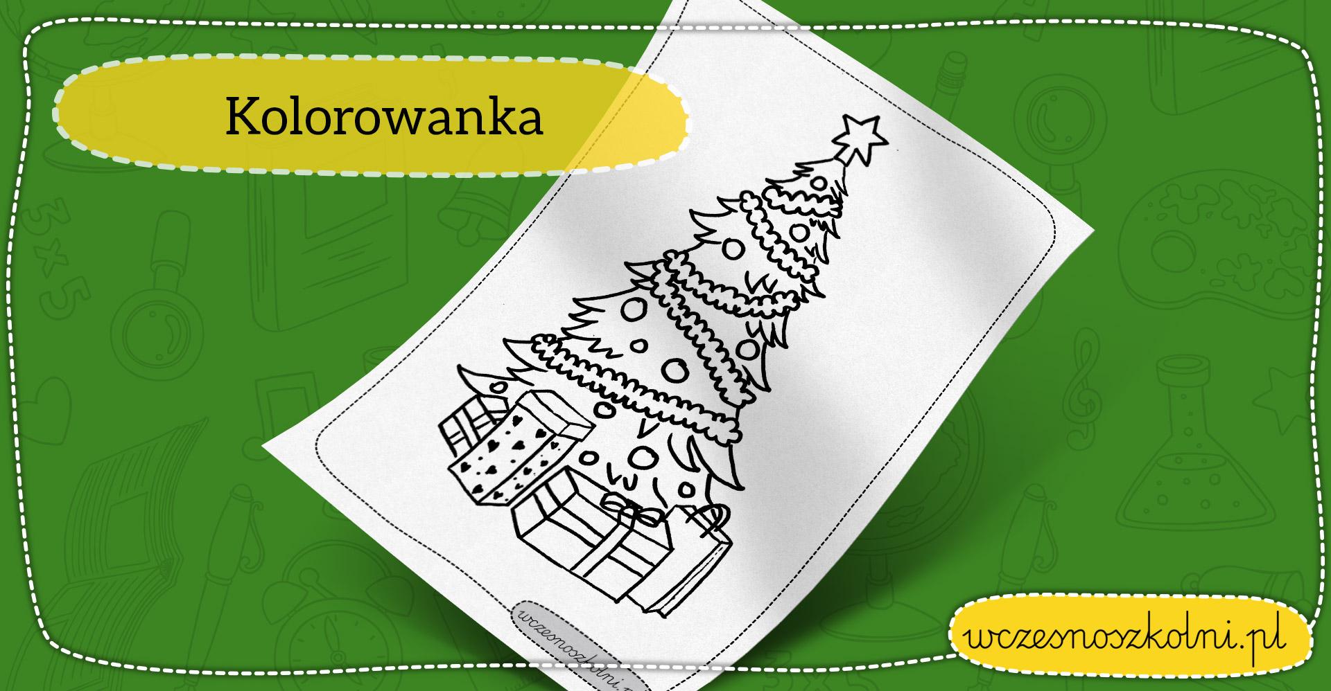 Choinka z prezentami - kolorowanka